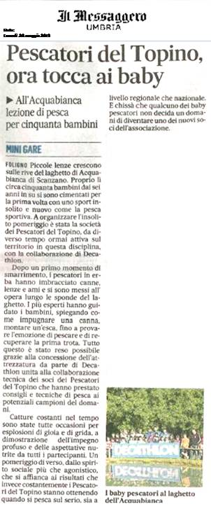 articolo giornale Il Messaggero - Umbria
