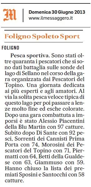 articolo Il Messaggero 30.06.2013